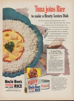 "Description: 1953 UNCLE BEN'S RICE vintage print advertisement ""Tuna joins Rice""-- Tuna joins Rice to make a Hearty Lenten Dish ... Uncle Ben's Converted Long Grain Rice -- Size: The dimensions of the full-page advertisement are approximately 10.5 inches x 14 inches (27cm x 36cm). Condition: ..."