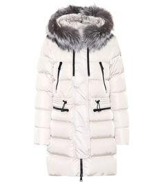 546732c423a9 Aphrotiti white fur-trimmed down coat Fur Trim Coat