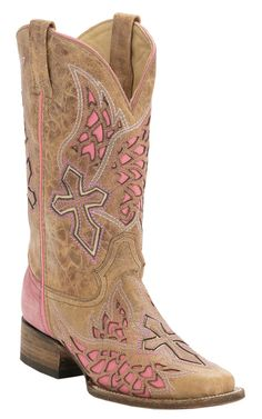 Corral® Rodeo Collection™ Women's Antique Saddle Tan with Winged Cross Pink Inlay Square Toe Cowboy Boots