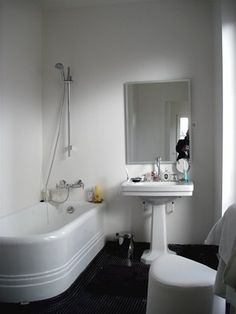 terrazzo floor pedestal basin and rounded deep bath all appeal now just need the deco mirror