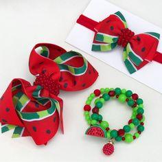 Diy Hair Bows, Diy Bow, Diy Ribbon, Bow Hair Clips, Bead Crafts, Diy And Crafts, Watermelon Birthday Parties, Hair Bow Tutorial, Diy Headband