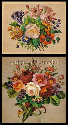 Fabulous Berlin Woolwork Patterns Victorian Flowers Borders | eBay