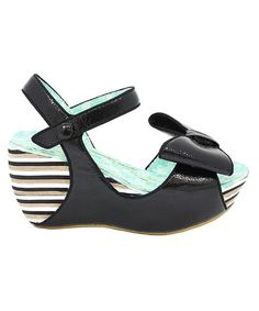 Take a look at this Black Lo Ryder Wedge Sandal by Irregular Choice on #zulily today!