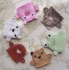 super cute :) Items are for sale, but able to duplicate from pictures using felt & embroidery thread....finger puppets