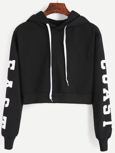 Shop Black Hooded Letters Print Crop Sweatshirt online. SheIn offers Black Hooded Letters Print Crop Sweatshirt & more to fit your fashionable needs.