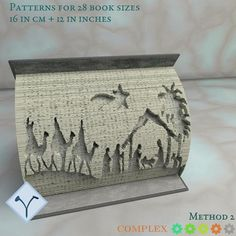 Pattern Art, Free Pattern, Art Patterns, Diy Nativity, Nativity Sets, Book Folding Patterns Free Templates, Cut And Fold Books, Folded Book Art, Holy Family