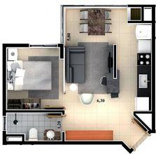 Ideas For Bedroom Loft Ideas Tiny Apartments Studio Layout Studio Type Apartment, Small Apartment Design, Layouts Casa, House Layouts, Apartment Floor Plans, One Bedroom Apartment, Bedroom Loft, Three Bedroom House Plan, Deco Studio