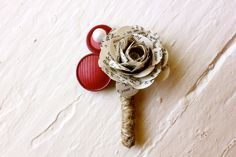 DYI paper flower book pages | Paper Flower Boutonniere, Wedding, Book Page, Buttons, Rose