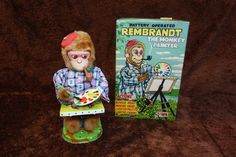 Nomura Rembrandt the Monkey Painter. Battery Operated Toy 1950s/gfucollectible