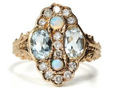 Aquamarine, Opal & Diamond Cluster Ring, mid-20th century