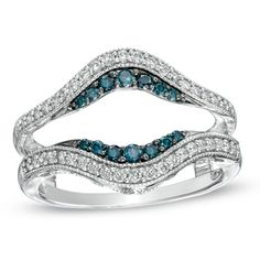 1/2 CT. T.W. Enhanced Blue and White Diamond Vintage-Style Guard in 14K White Gold - Zales