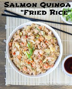 """Salmon Quinoa """"Fried Rice"""" - A Healthy & Delicious Spin on Traditional Fried Rice"""