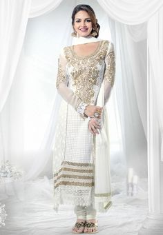 Off White #Georgette kameez designed with Zari, resham embroidery with patch butta and crosia lace bo rder work. Available with Off White #Santoon Bottom with matching #Chiffon Dupatta.  With exciting Flat 30% discount! INR :-3857