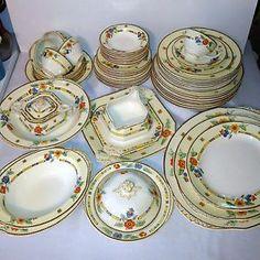 old 1920 dishs | Vintage-Antique-China-Grindley-England-Huge-64-Piece-Set-Art-Deco ...