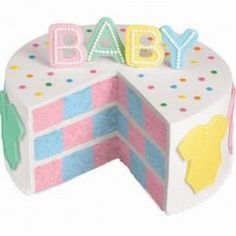 Pink or Blue, A Dream Come True Cake - Oh baby, what a cake to behold! With the Wilton Checkerboard Cake Set there is a great surprise inside… blue and pink are featured for the newest family arrival. Cake Pink, Rose Icing, Checkerboard Cake, Inside Cake, Shower Bebe, Girl Shower, Pistachio Cake, Bowl Cake, Wilton Cake Decorating
