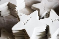 Clay stars (use cookie cutters) with stamped inspirational words.