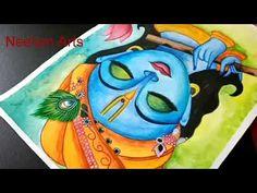 Krishna Drawing, Krishna Painting, Krishna Art, Oil Pastel Art, Oil Pastel Drawings, Oil Pastels, Pencil Drawings Of Girls, Easy Drawings, Special Rangoli