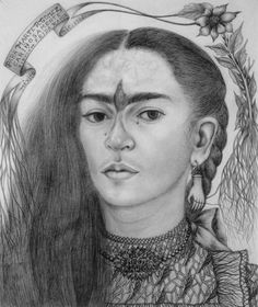 Self Portrait with Tears and Hummingbird Eyebrows by Frida Kahlo, pencil on paper, 1946