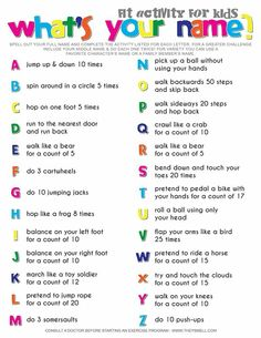 Gross motor name and letter recognition