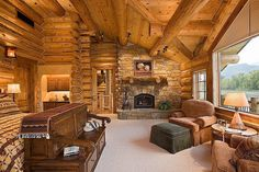 Love the log cabin bedroom-LOVE the bench at the foot of the bed!!!!