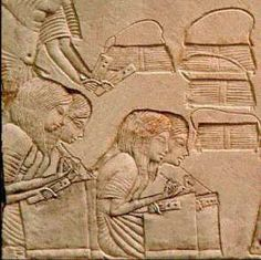 Scribes at work during military campaign. Saqqara tomb of Horemheb.