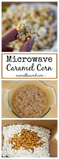 Microwave Caramel Corn is crunchy, simple and requires ZERO baking.  Ready in 10 minutes and tastes amazing!  Your new favorite popcorn!