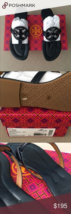 NEW IN BOX 💯 Tory Burch Miller Sandals NAVY BLUE - these are not black but look dark in certain lighting. Photos taken indoors next to a window and are true to color. SIZE 8.5 fits size 8-8.5 feet best. Box and dust bag included. PRICE IS FIRM. NO TRADES. Authentic guaranteed Tory Burch - style is Miller 2. Tory Burch Shoes Sandals