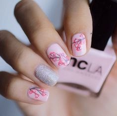 Find images and videos about pink, nails and nail art on We Heart It - the app to get lost in what you love. Love Nails, How To Do Nails, Fun Nails, Pretty Nails, Purple Pastel, Cherry Blossom Nails, Cherry Blossoms, Uñas Fashion, Gel Nail Polish Set