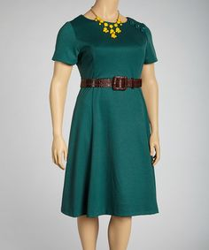 Forest Belted Short-Sleeve A-Line Dress - Plus by Joy Mark #zulily #zulilyfinds