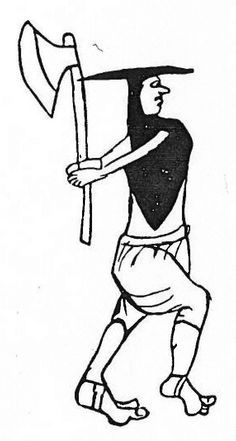 """Irish footsoldier with axe, illustrated in the """"Liber A"""" manuscript, from the time of King Edward the 1st (1272-1307)."""