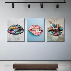 Need a pop of color and personality on your wall? The Color Lips bundle has 3 paintings of lips on canvas. Bundle & save on colorful modern wall art prints. Art Pop, Dentist Art, Art Stand, Clinic Design, Office Art, Selling Art, Lip Art, Canvas Artwork, Wall Canvas
