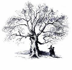 **FREE ViNTaGE DiGiTaL STaMPS** - Grand Oak Tree printable