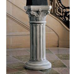 Inspiration◾️Architecture Toscano Design The Athena Corinthian Pedestal Plant Stand Design Iron Balu Display Pedestal, Pedestal Stand, Garden Decor Items, Garden Crafts, Garden Ideas, Wooden Planters, Distressed Painting, Garden Stones, Corinthian