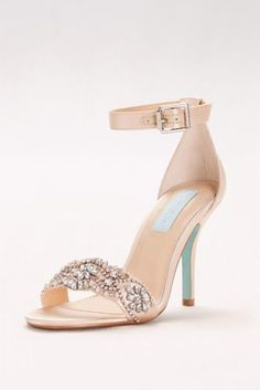 A richly embellished vamp and slim ankle strap make this high heel sandal from Betsey Johnson the perfect finish to any evening look.  By Blue by Betsey