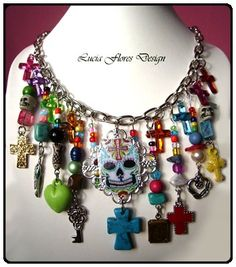 SALE Mexican Day of the Dead / Dia de los Muertos Sugar Skull charm necklace Folk Art Rockabilly Steampunk Frida Kahlo