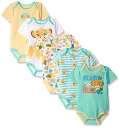 Disney Baby Boys' Simba 5 Pack Bodysuits, Multi/Yellow, 3-6 Months