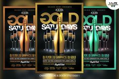 Gold Saturdays Flyer Template by WG-VISUALARTS on @creativemarket