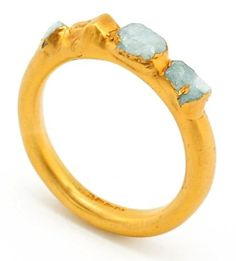 Raw Aquamarine Gemstone Gold Ring
