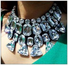 #FashionFriday  #Fashion #Shopping @modtoast Chunky Statement Bib Necklace Choker Clear Acrylic Beads Black Felt Ribbon