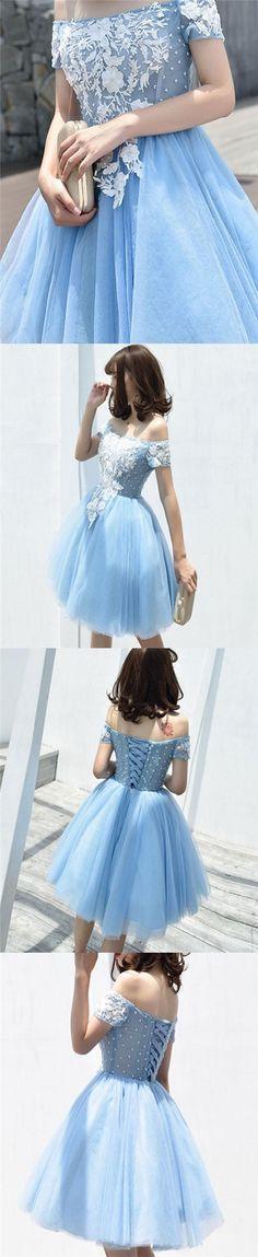 Beautiful Homecoming Dress Appliques Light Sky Blue Short Prom Dress Party Dress JK399