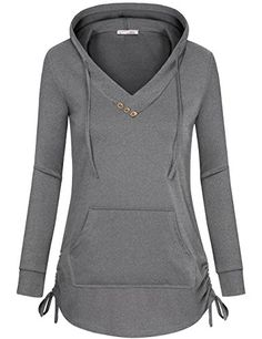 Messic Women's Long Sleeve Tunic Hoodies Casual Pullover Sweatshirt with Drawstring Grey Coats For Women, Long Sleeve Tunic, Sport Fashion, Casual Tops, Fashion Dresses, Cute Outfits, Clothes For Women, Sweatshirts, How To Wear