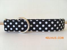 Collar perro Lunares negro, Collar martingale, Collar galgo, Martingale dog collar, Collares para perros, Correa perro, lunares, negro de 4GUAUS en Etsy