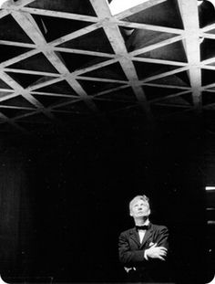 Louis Kahn was a visiting critic at the Yale School of Architecture when he designed the Yale University Art Gallery's Louis Kahn Building. This is an image of the architect with his famous tetrahedral ceiling.