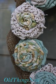 DIY:  Rosette Wreath Tutorial - made using fabric & lace scraps, strips of drop cloth and a  cardboard wreath form.