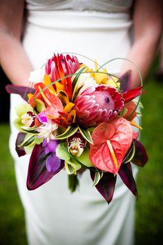 Tropical bouquet from a Makena, Maui Wedding - Maui Wedding Photographer, Aihara Visuals Tropical Flowers, Tropical Wedding Bouquets, Exotic Flowers, Floral Wedding, Tropical Weddings, Hawaiian Wedding Flowers, Wedding Bride, Maui Weddings, Hawaii Wedding