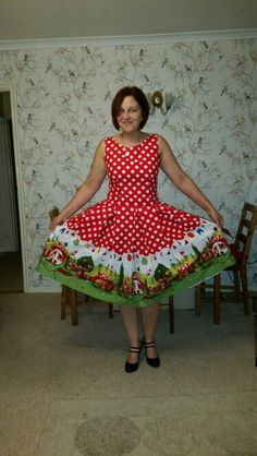 GNOMEVILLE dress......based on Ruby pattern from Love Sewing but then completely changed to a free hand draft to suit fabric. Copywrite The Sewing Unicorn thesewingunicorn.com