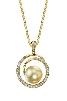 18K Yellow Gold 9mm Golden South Sea Pearl & Diamond Pendant Necklace-