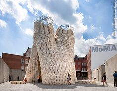 'Hi-Fi' art pavilion by David Benjamin, 2014 Built in the courtyard of MOMA the structure was made of 10,000 organic bricks made from chopped up corn stalks and mushrooms.