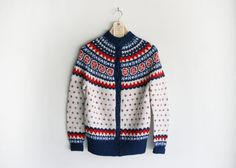 Vintage Bright Blue, Red & White Handmade Winter Ski Sweater.
