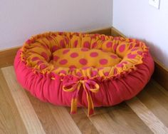 Small Fleece Dog Bed in Orange and Pink by handmadeheartcrafted